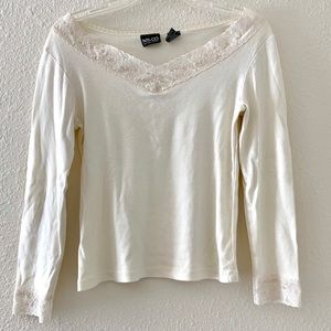 NYC White Lace OTS Long Sleeve